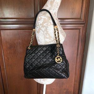 Michael Kors black quilted handbag gold chains
